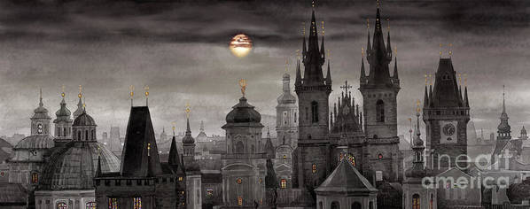 Cityscape Print featuring the painting Bw Prague City Of Hundres Spiers by Yuriy Shevchuk