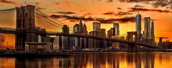New York City Art Print featuring the photograph Fiery Sunset Over Manhattan by Az Jackson