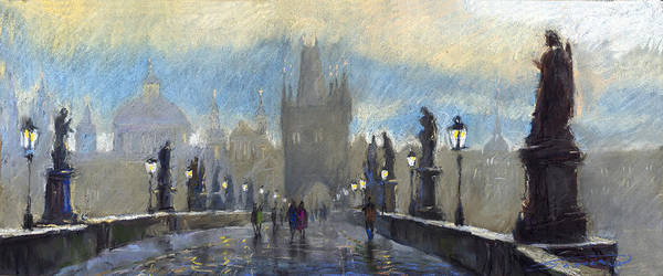 Pastel Art Print featuring the pastel Prague Charles Bridge 06 by Yuriy Shevchuk