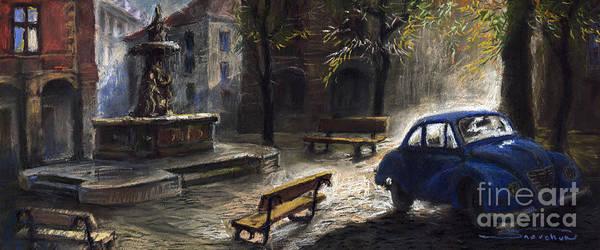 Prague Art Print featuring the painting Prague Old Fountain by Yuriy Shevchuk
