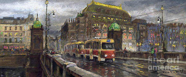 Prague Art Print featuring the painting Prague Tram Legii Bridge National Theatre by Yuriy Shevchuk