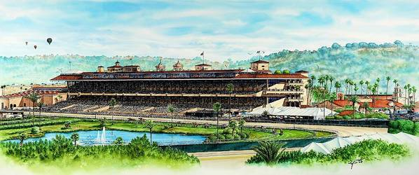San Diego Paintings Art Print featuring the painting Del Mar Race Track by John YATO