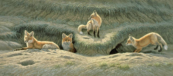 Wildlife Art Print featuring the painting Where's Mom-fox Pups by Paul Krapf