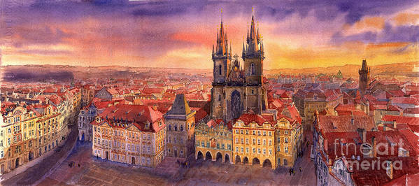 Watercolour Art Print featuring the painting Prague Old Town Square 02 by Yuriy Shevchuk