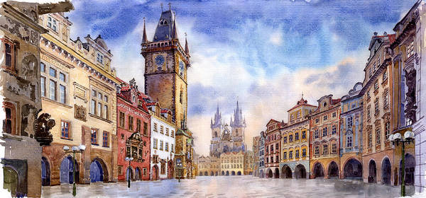 Watercolour Art Print featuring the painting Prague Old Town Square by Yuriy Shevchuk