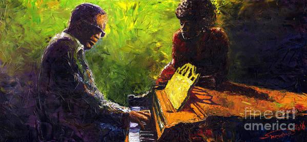 Jazz Art Print featuring the painting Jazz Ray Duet by Yuriy Shevchuk