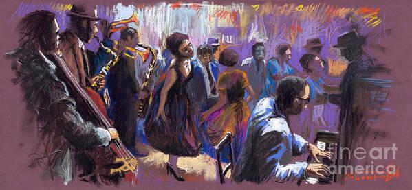 Jazz.pastel Print featuring the painting Jazz by Yuriy Shevchuk