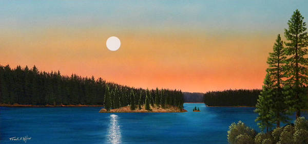 Landscape Art Print featuring the painting Moonrise Over The Lake by Frank Wilson