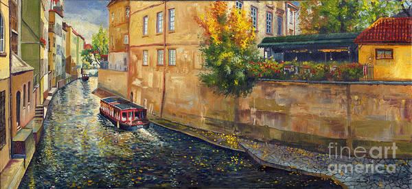 Oil.prague Print featuring the painting Prague Venice Chertovka 2 by Yuriy Shevchuk