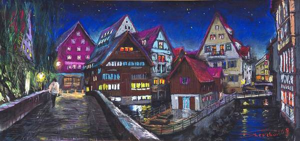 Pastel Art Print featuring the painting Germany Ulm Fischer Viertel by Yuriy Shevchuk