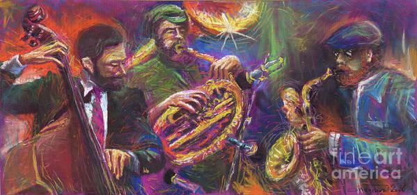 Jazz Art Print featuring the painting Jazz Jazzband Trio by Yuriy Shevchuk