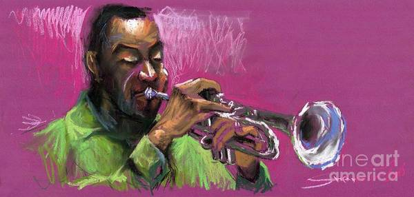 Jazz Art Print featuring the painting Jazz Trumpeter by Yuriy Shevchuk