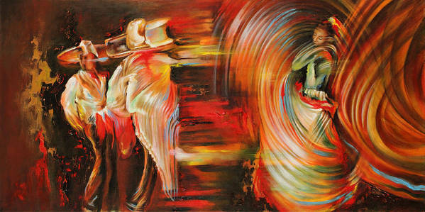 Dance Art Print featuring the painting Folklore by Karina Llergo