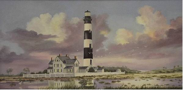Lighthouse Art Print featuring the painting History Of Morris Lighthouse by Wanda Dansereau