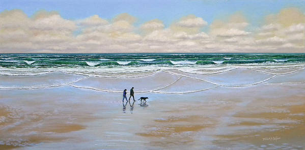 Beach Print featuring the painting Beach Dog Walk by Frank Wilson