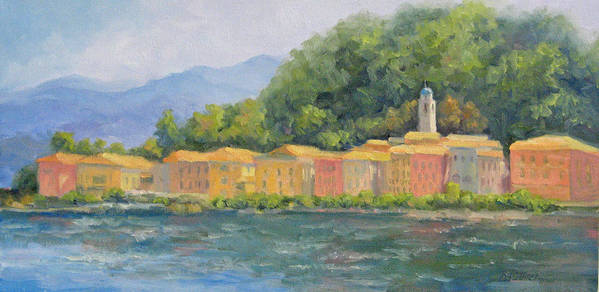 Italy Art Print featuring the painting Bellagio - Pearl Of Lake Como by Bunny Oliver
