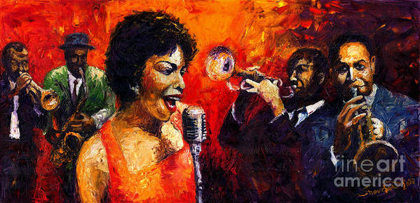 Jazz.song.trumpeter Art Print featuring the painting Jazz Song by Yuriy Shevchuk