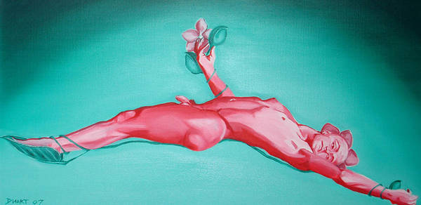 Nude Figurative Flowers Orchids Nude Male Red Green Art Print featuring the painting Orchids Capture by Davinia Hart