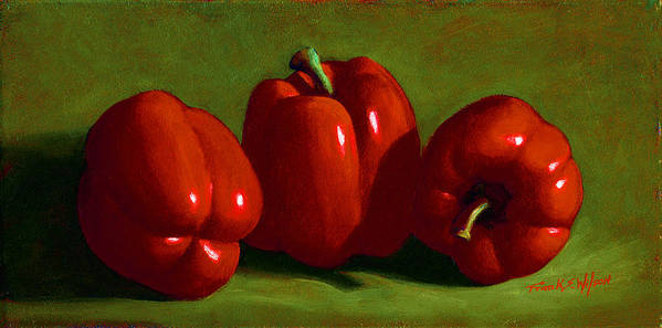 Red Peppers Art Print featuring the painting Red Peppers by Frank Wilson