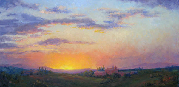 Sunset Art Print featuring the painting Sunset Over Tuscany by Bunny Oliver