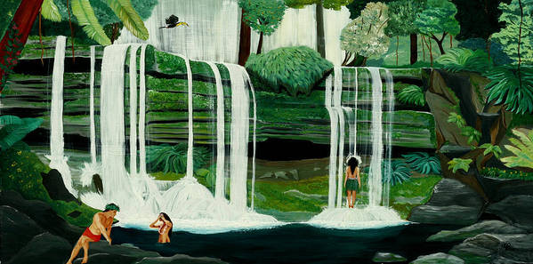 Tiki Art Art Print featuring the painting Wahines In Waterfall by Julie Pflanzer