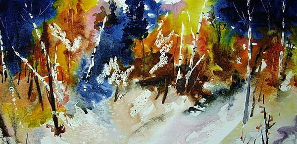 Landscape Art Print featuring the painting Woods Abalze by Wilfred McOstrich