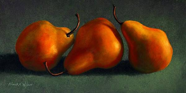 Still Life Art Print featuring the painting Three Golden Pears by Frank Wilson