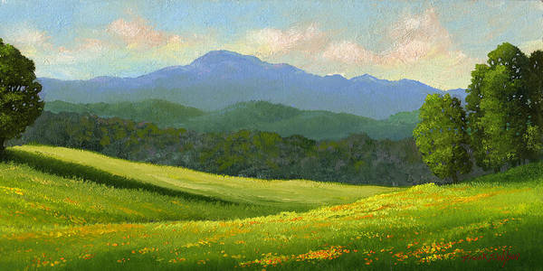 Landscape Art Print featuring the painting Dandelion Meadows by Frank Wilson