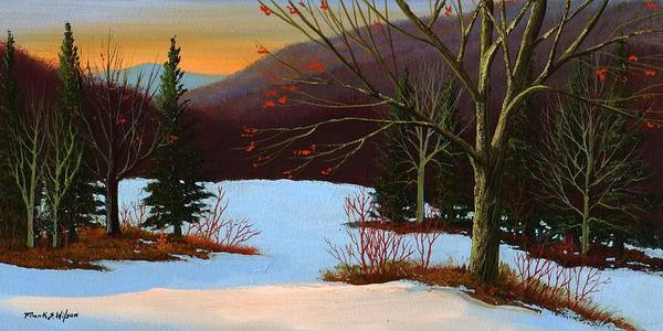Winter Art Print featuring the painting Last Light Of Day by Frank Wilson