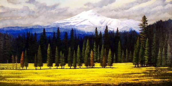 Landscape Art Print featuring the painting Spring Meadow Mount Brokeoff by Frank Wilson