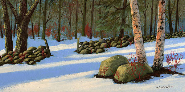 Landscape Art Print featuring the painting Stone Wall Gateway by Frank Wilson
