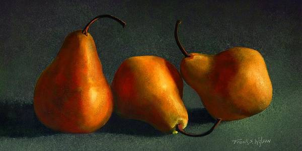 Still Life Art Print featuring the painting Yellow Pears by Frank Wilson