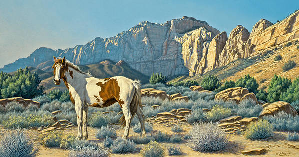 Landscape Art Print featuring the painting Canyon Country Paints by Paul Krapf