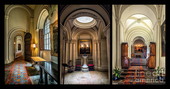 British Print featuring the photograph Mansion Hallway Triptych by Adrian Evans