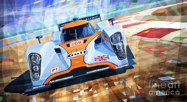 Automotive Art Print featuring the mixed media Lola Aston Martin Lmp1 Racing Le Mans Series 2009 by Yuriy Shevchuk