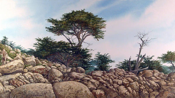 Landscape Art Print featuring the painting Cypress Garden by Tom Wooldridge
