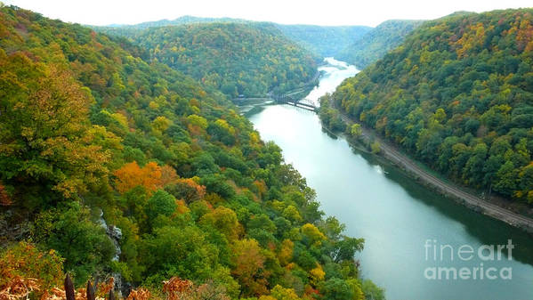 West Virginia Art Print featuring the photograph New River Gorge Viewed From Hawks Nest State Park by Thomas R Fletcher