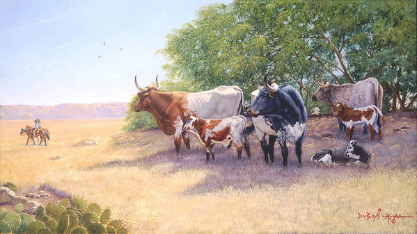 Longhorns Art Print featuring the painting The Lookers by Howard Dubois