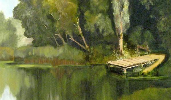 Landscape Art Print featuring the painting Pontoon Pond by Margaret Alder
