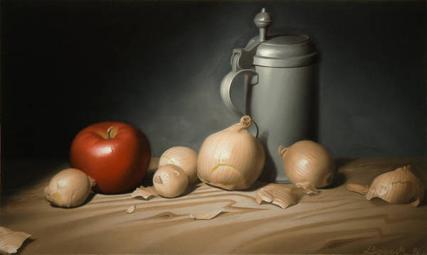 Still Life Painting Art Print featuring the painting Still Life Painting With Onions by Eric Bossik