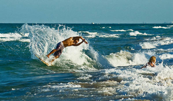 Surfing Art Print featuring the photograph Surfboarding In Florida by Allan Einhorn