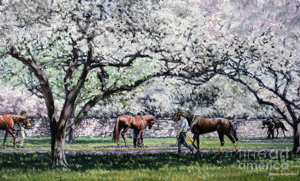Derby Art Print featuring the painting Springtime At Keeneland by Thomas Allen Pauly