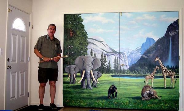 Mural Art Print featuring the painting Yosemite Dreams Mural On Doors by Frank Wilson