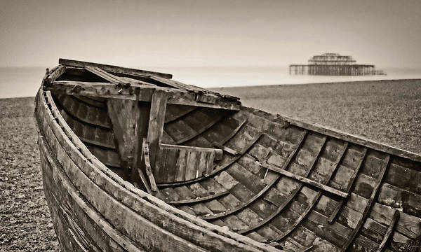 Britain Art Print featuring the photograph Beached At Brighton In Sepia by Tony Grider