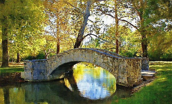 Eastwood Metropark Art Print featuring the photograph Stone Bridge by D W Steinbarger