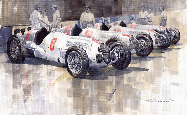 Watercolour Art Print featuring the painting 1937 Monaco Gp Team Mercedes Benz W125 by Yuriy Shevchuk