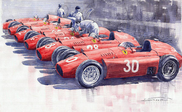 Watercolour Print featuring the painting Team Lancia Ferrari D50 Type C 1956 Italian Gp by Yuriy Shevchuk