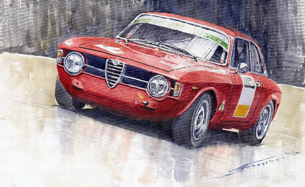 Watercolor Print featuring the painting Alfa Romeo Giulie Sprint Gt 1966 by Yuriy Shevchuk