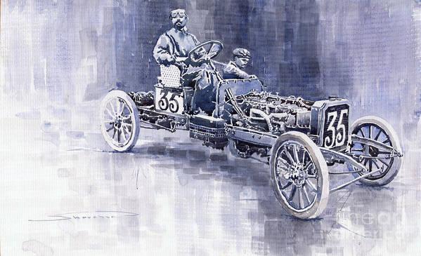 Watercolour Art Print featuring the painting Benz 60hp Targa Florio Rennwagen 1907 by Yuriy Shevchuk