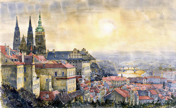 Watercolor Art Print featuring the painting Dawn Of Prague by Yuriy Shevchuk